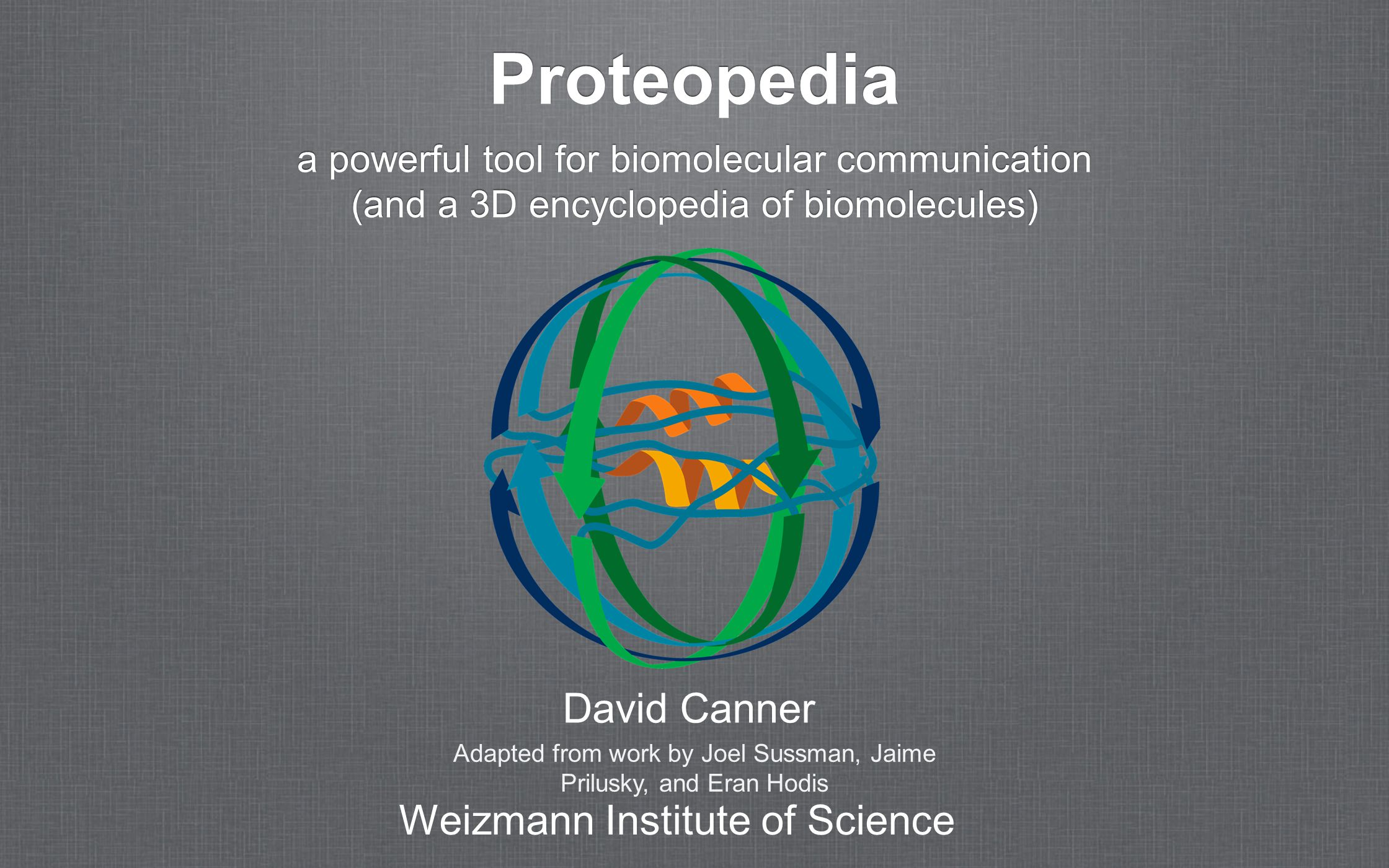 Proteopedia a powerful tool for biomolecular communication (and a 3D encyclopedia of biomolecules) a powerful tool for biomolecular communication (and