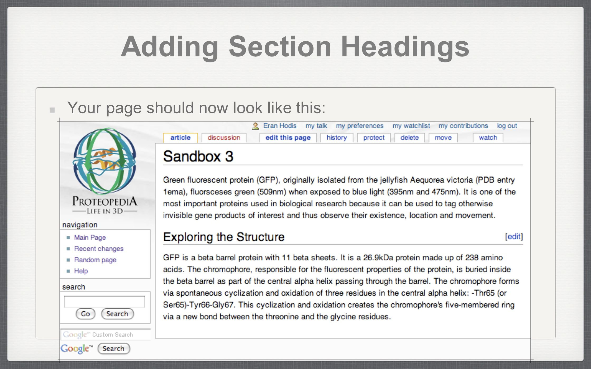 Adding Section Headings Your page should now look like this: