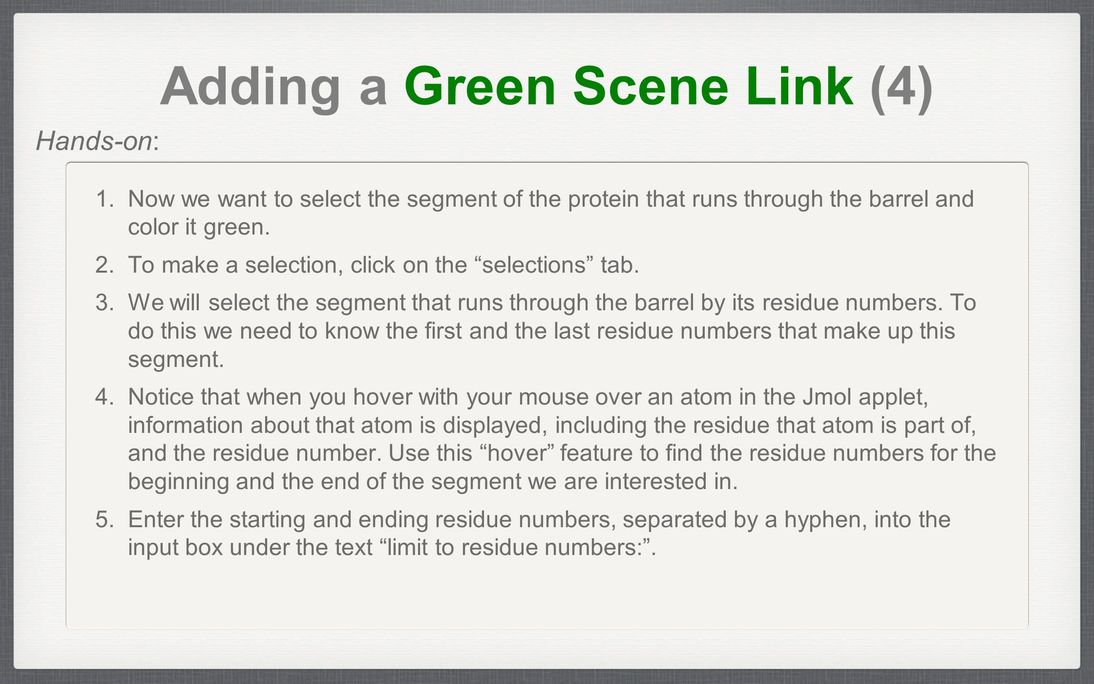 Adding a Green Scene Link (4) 1.