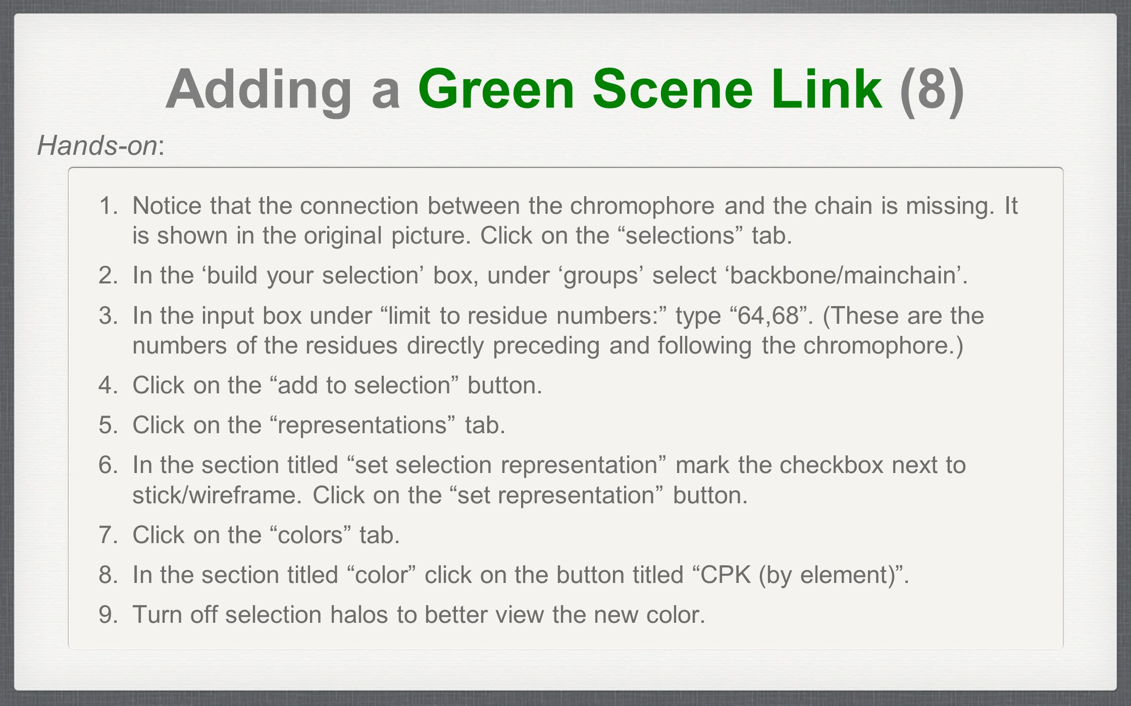 Adding a Green Scene Link (8) 1.