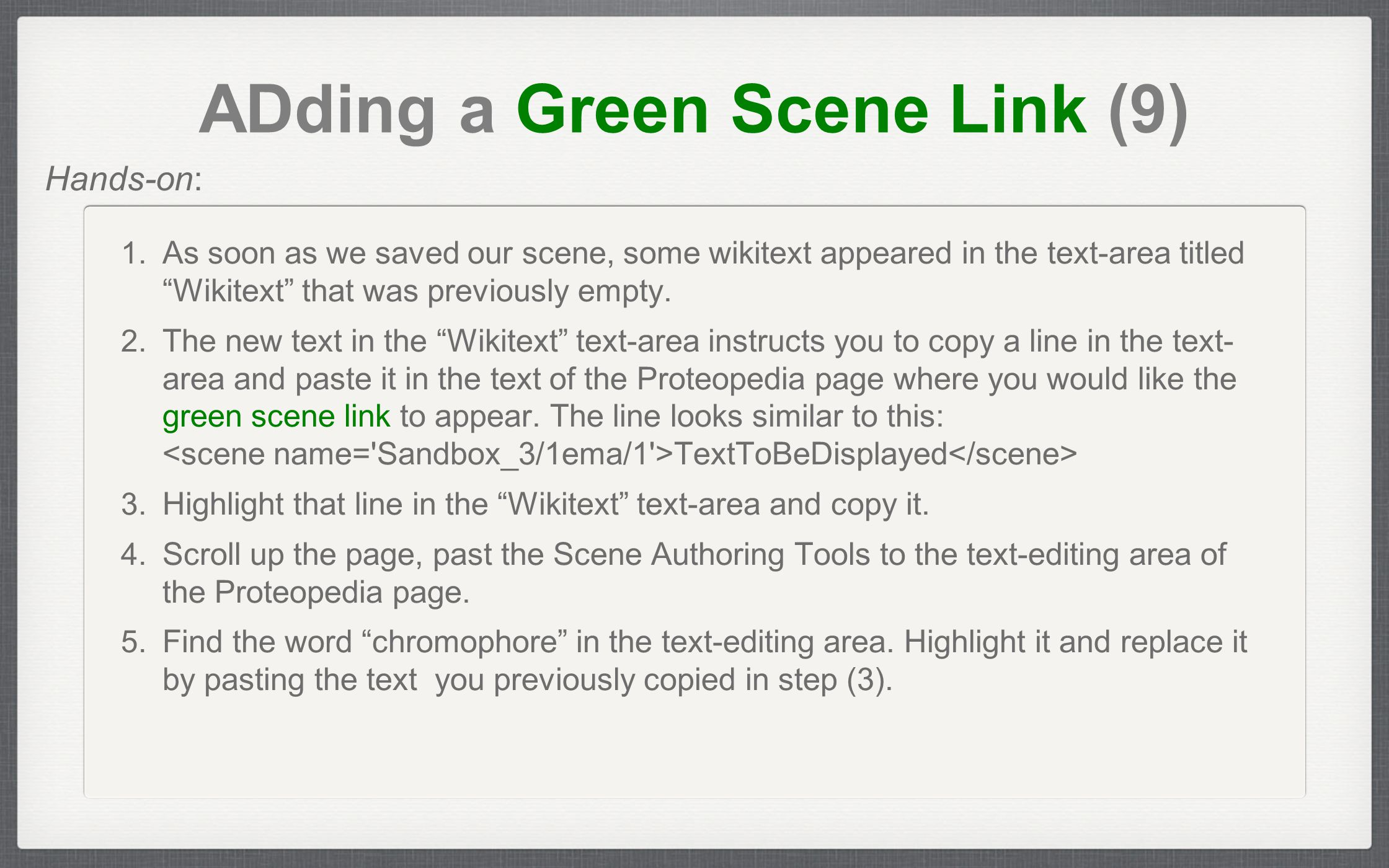 ADding a Green Scene Link (9) 1.