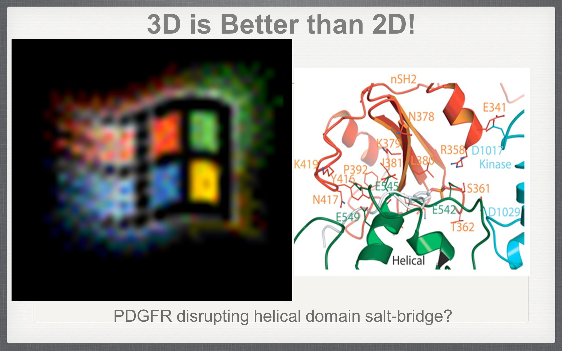 3D is Better than 2D! PDGFR disrupting helical domain salt-bridge?