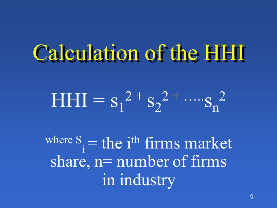 8 What is the Herfindahl- Hirschman Index (HHI).