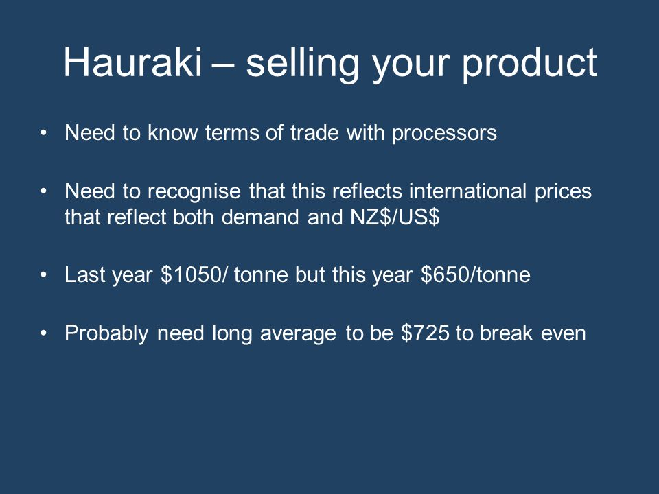 Hauraki – selling your product Need to know terms of trade with processors Need to recognise that this reflects international prices that reflect both demand and NZ$/US$ Last year $1050/ tonne but this year $650/tonne Probably need long average to be $725 to break even