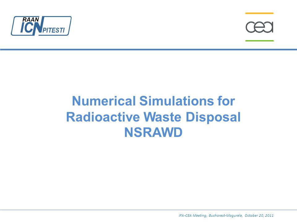 Numerical Simulations for Radioactive Waste Disposal NSRAWD IFA-CEA Meeting, Bucharest-Magurele, October 20, 2011