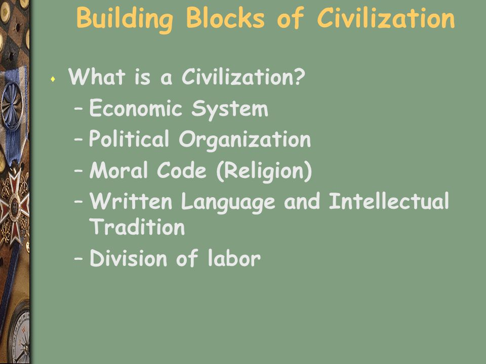 Others ways to tell if it is a civilization s primary measurement is surplus –Something above the subsistence level –Indicators of more time s other characteristics of civilization include –Writing –Cities –established states.