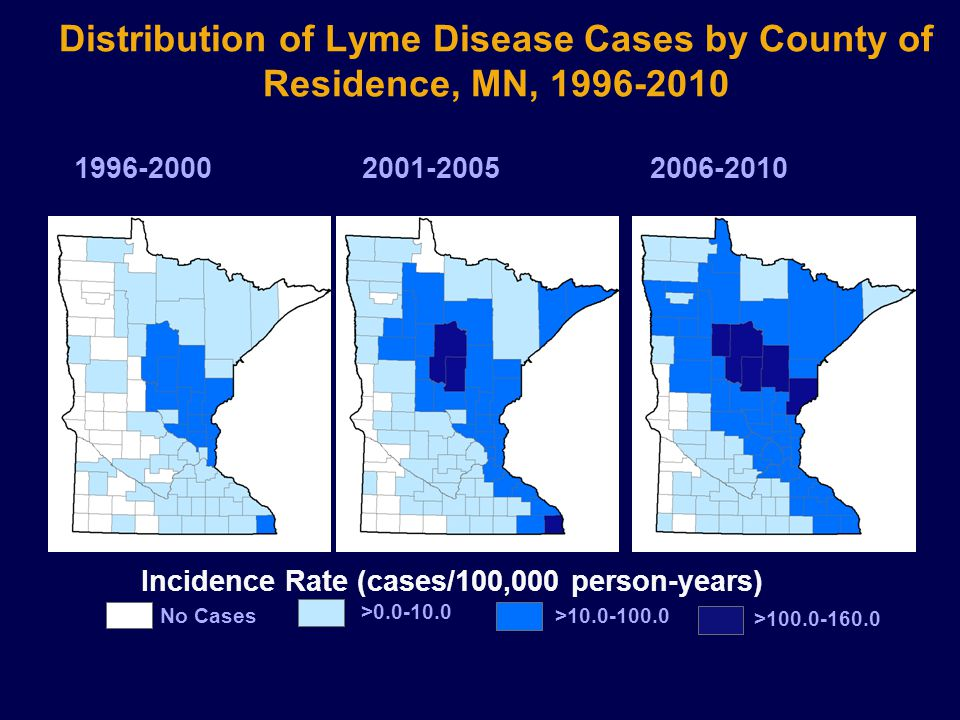 Distribution of Lyme Disease Cases by County of Residence, MN, 1996-2010 Incidence Rate (cases/100,000 person-years) No Cases >0.0-10.0 >10.0-100.0 >100.0-160.0 2006-20102001-20051996-2000