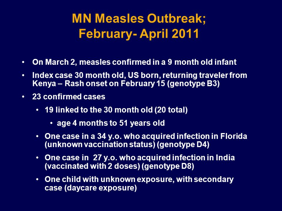 MN Measles Outbreak; February- April 2011 On March 2, measles confirmed in a 9 month old infant Index case 30 month old, US born, returning traveler from Kenya – Rash onset on February 15 (genotype B3) 23 confirmed cases 19 linked to the 30 month old (20 total) age 4 months to 51 years old One case in a 34 y.o.