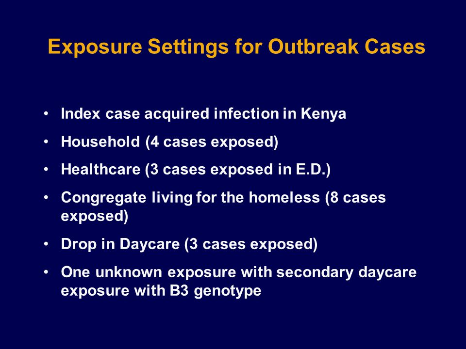 Exposure Settings for Outbreak Cases Index case acquired infection in Kenya Household (4 cases exposed) Healthcare (3 cases exposed in E.D.) Congregate living for the homeless (8 cases exposed) Drop in Daycare (3 cases exposed) One unknown exposure with secondary daycare exposure with B3 genotype