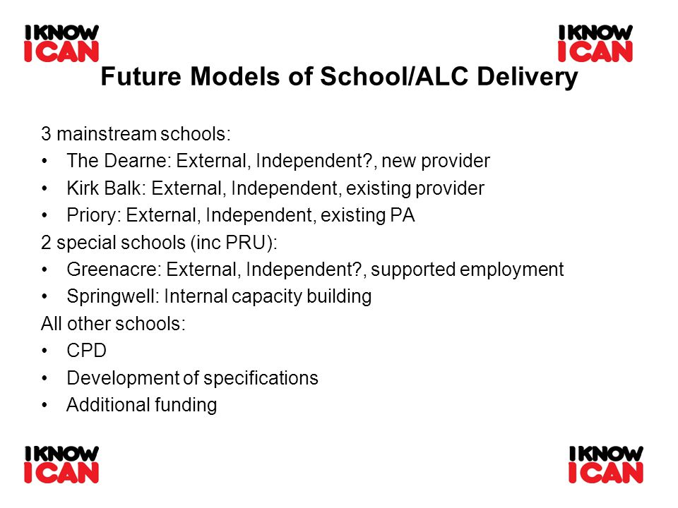 Future Models of School/ALC Delivery 3 mainstream schools: The Dearne: External, Independent , new provider Kirk Balk: External, Independent, existing provider Priory: External, Independent, existing PA 2 special schools (inc PRU): Greenacre: External, Independent , supported employment Springwell: Internal capacity building All other schools: CPD Development of specifications Additional funding