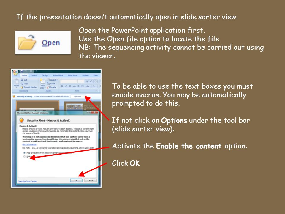 The text boxes are only active in the slideshow mode which means text can be added and deleted as the slideshow is being watched.