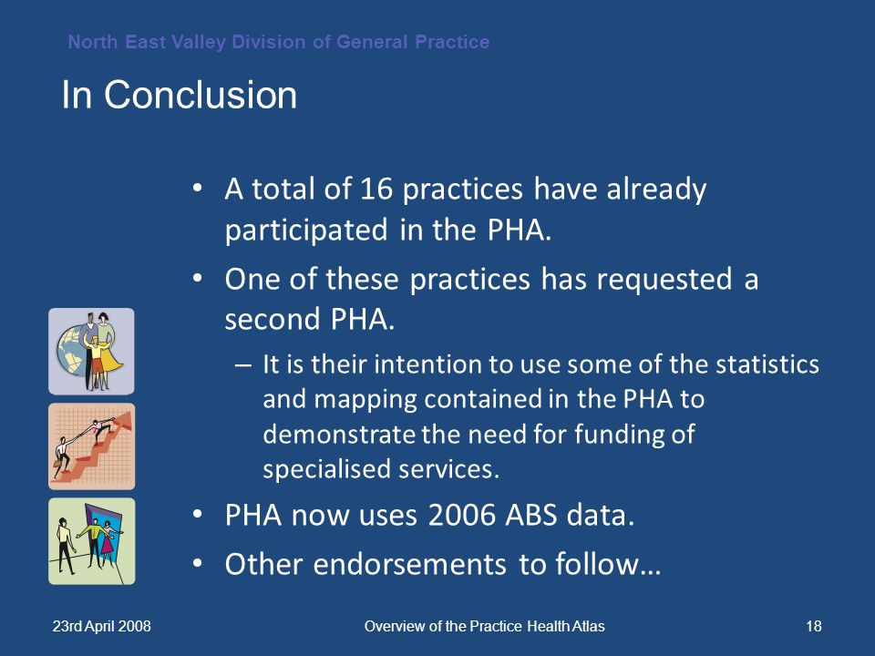 North East Valley Division of General Practice 23rd April 2008Overview of the Practice Health Atlas18 A total of 16 practices have already participated in the PHA.