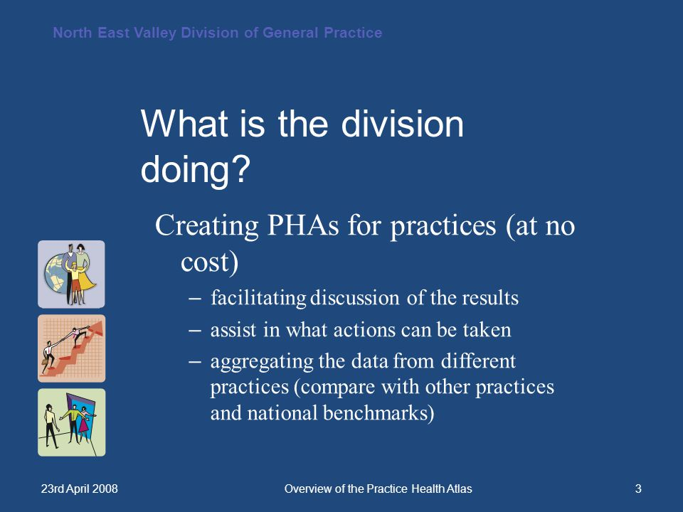 North East Valley Division of General Practice 23rd April 2008Overview of the Practice Health Atlas4 A quality database.