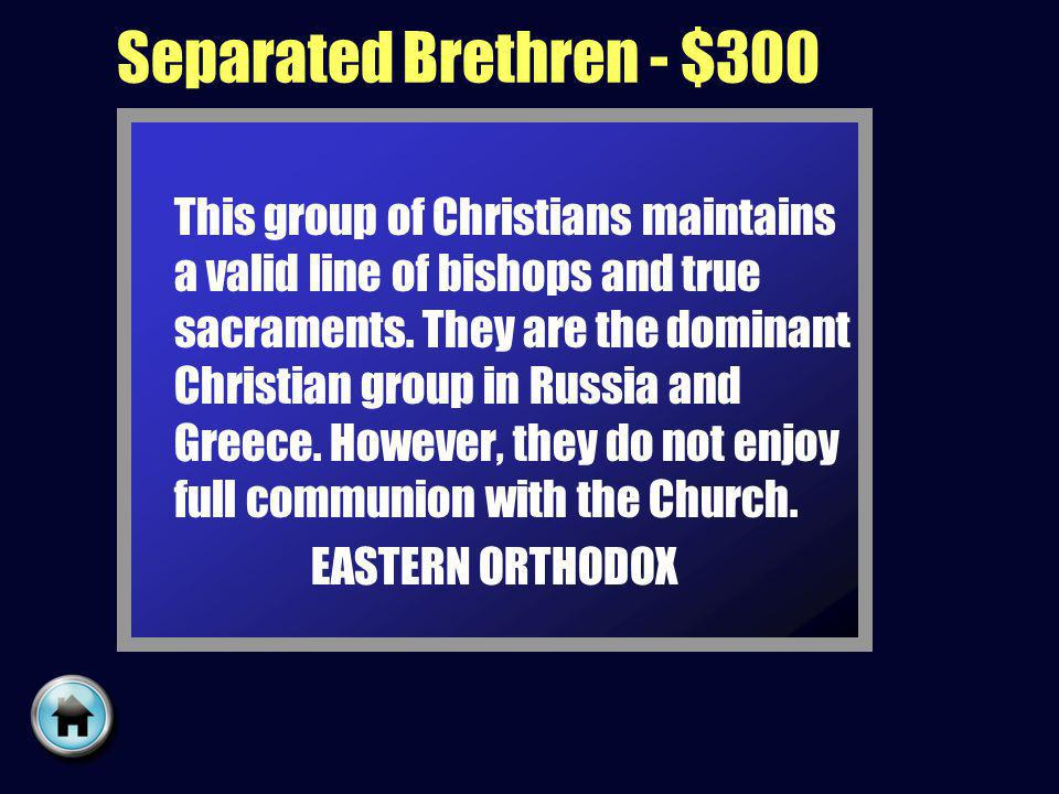 Separated Brethren - $300 This group of Christians maintains a valid line of bishops and true sacraments.