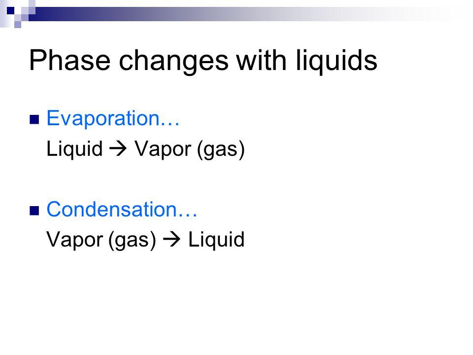 Phase changes with liquids Evaporation… Liquid  Vapor (gas) Condensation… Vapor (gas)  Liquid
