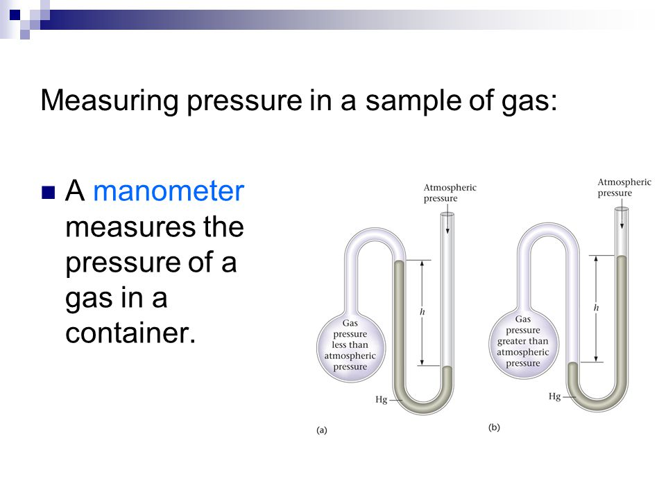 Measuring pressure in a sample of gas: A manometer measures the pressure of a gas in a container.