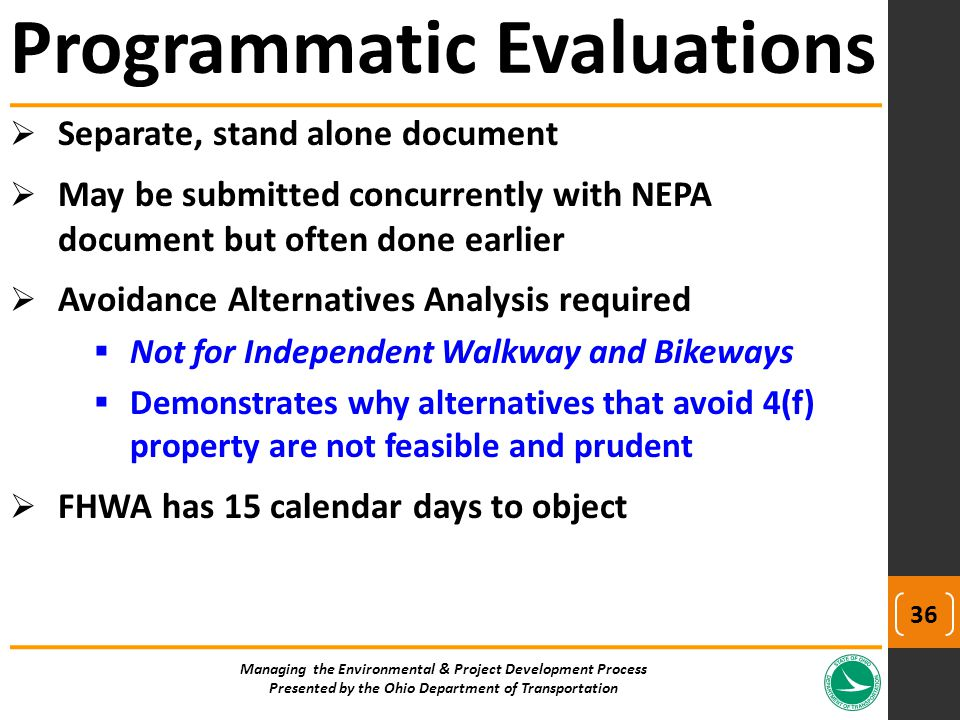  Separate, stand alone document  May be submitted concurrently with NEPA document but often done earlier  Avoidance Alternatives Analysis required