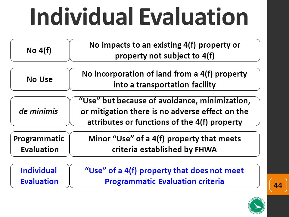 Individual Evaluation No Use No incorporation of land from a 4(f) property into a transportation facility de minimis Use but because of avoidance, minimization, or mitigation there is no adverse effect on the attributes or functions of the 4(f) property Programmatic Evaluation Minor Use of a 4(f) property that meets criteria established by FHWA Individual Evaluation Use of a 4(f) property that does not meet Programmatic Evaluation criteria No 4(f) No impacts to an existing 4(f) property or property not subject to 4(f) 44