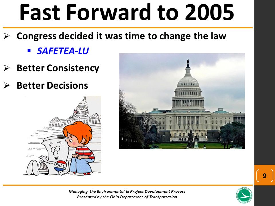  Congress decided it was time to change the law  SAFETEA-LU  Better Consistency  Better Decisions Fast Forward to 2005 Managing the Environmental
