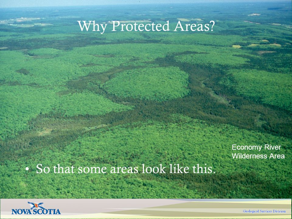Economy River Wilderness Area Why Protected Areas? So that some areas look like this.