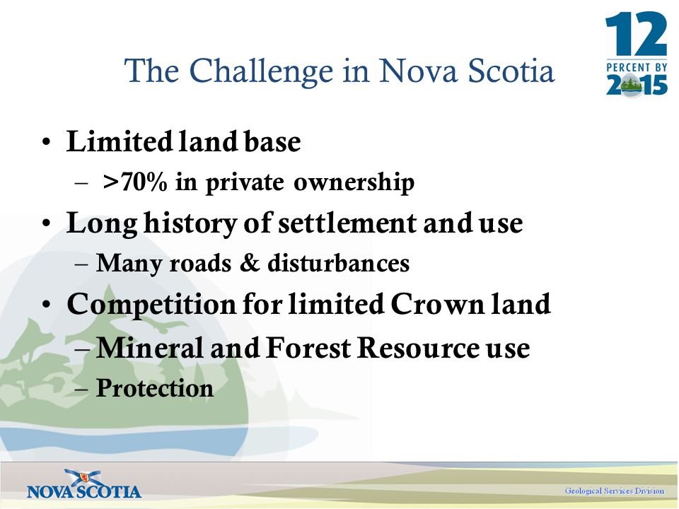 The Challenge in Nova Scotia Limited land base – >70% in private ownership Long history of settlement and use – Many roads & disturbances Competition for limited Crown land – Mineral and Forest Resource use – Protection