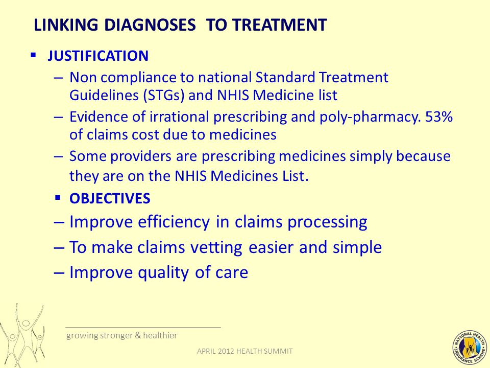 growing stronger & healthier LINKING DIAGNOSES TO TREATMENT  JUSTIFICATION – Non compliance to national Standard Treatment Guidelines (STGs) and NHIS Medicine list – Evidence of irrational prescribing and poly-pharmacy.