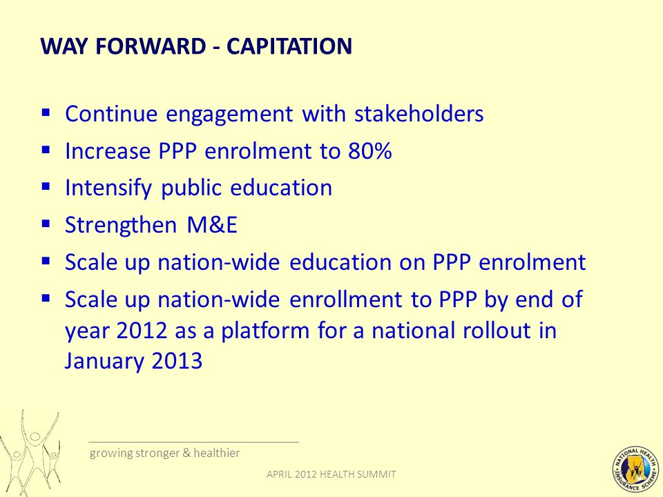 growing stronger & healthier WAY FORWARD - CAPITATION  Continue engagement with stakeholders  Increase PPP enrolment to 80%  Intensify public education  Strengthen M&E  Scale up nation-wide education on PPP enrolment  Scale up nation-wide enrollment to PPP by end of year 2012 as a platform for a national rollout in January APRIL 2012 HEALTH SUMMIT
