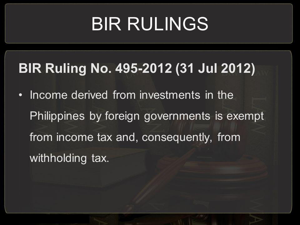 BIR RULINGS BIR Ruling No.