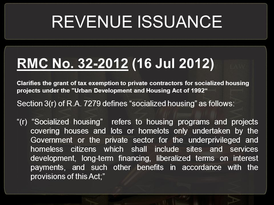 REVENUE ISSUANCE RMC No.
