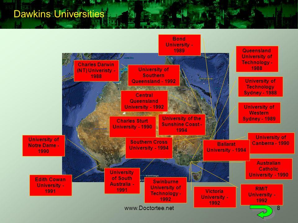 www.Doctortee.net8 University of Western Sydney - 1989 Australian Catholic University - 1990 Queensland University of Technology - 1988 RMIT Universit