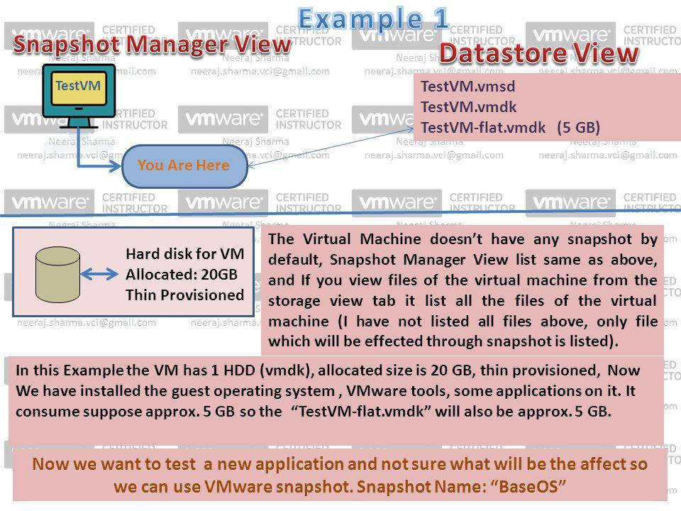 TestVM You Are Here TestVM.vmsd TestVM.vmdk TestVM-flat.vmdk (5 GB) Hard disk for VM Allocated: 20GB Thin Provisioned The Virtual Machine doesn't have