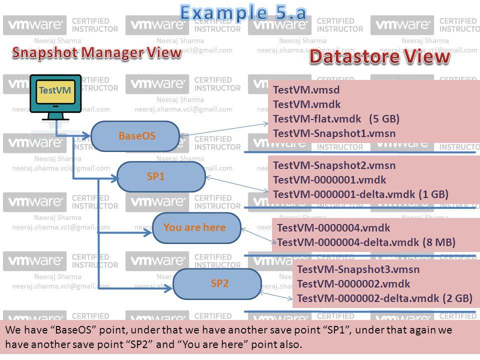 SP1 TestVM.vmsd TestVM.vmdk TestVM-flat.vmdk (5 GB) TestVM-Snapshot1.vmsn BaseOS TestVM-Snapshot2.vmsn TestVM-0000001.vmdk TestVM-0000001-delta.vmdk (