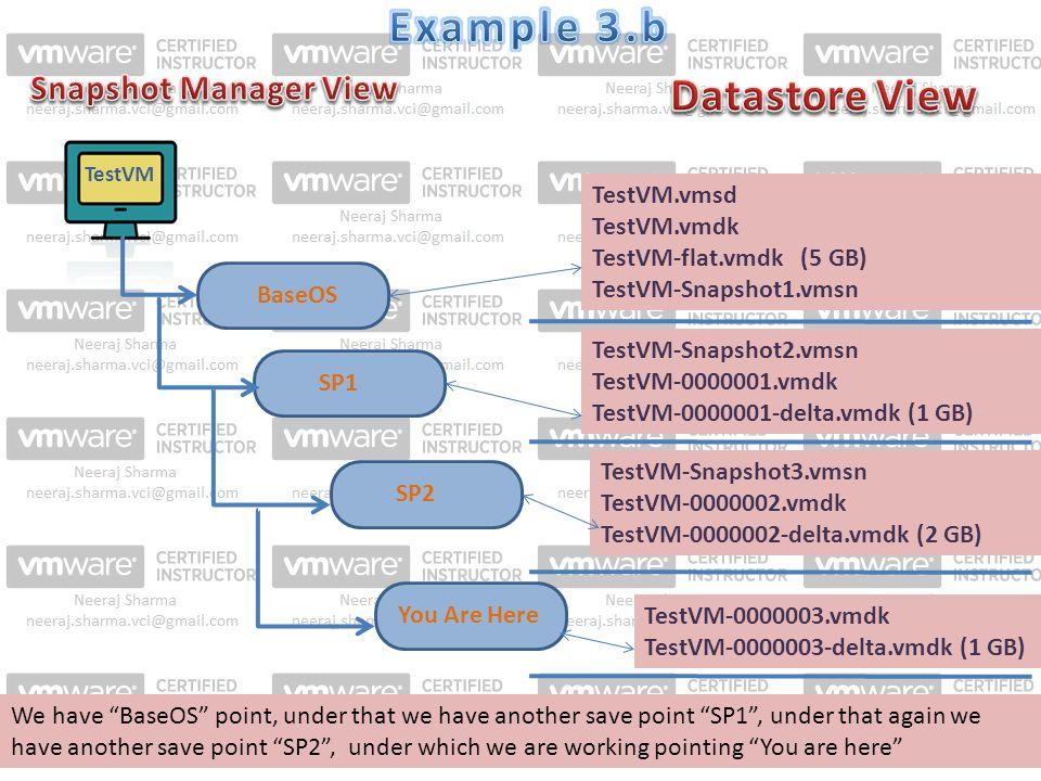 TestVM SP1 TestVM.vmsd TestVM.vmdk TestVM-flat.vmdk (5 GB) TestVM-Snapshot1.vmsn BaseOS TestVM-Snapshot2.vmsn TestVM-0000001.vmdk TestVM-0000001-delta