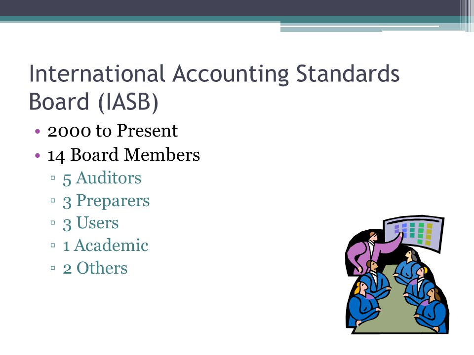 International Accounting Standards Board (IASB) 2000 to Present 14 Board Members ▫5 Auditors ▫3 Preparers ▫3 Users ▫1 Academic ▫2 Others
