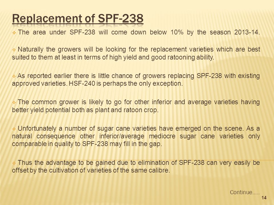  The area under SPF-238 will come down below 10% by the season 2013-14.