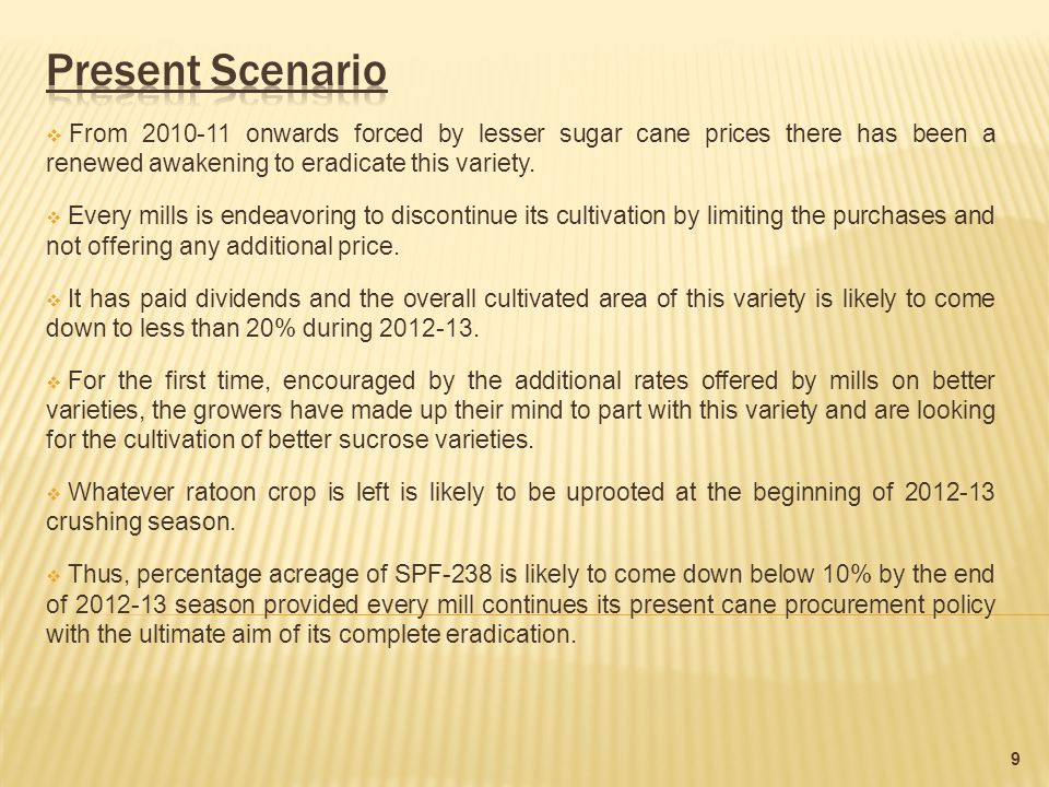  From 2010-11 onwards forced by lesser sugar cane prices there has been a renewed awakening to eradicate this variety.