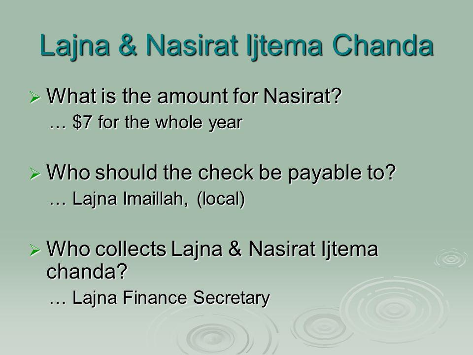 Lajna & Nasirat Ijtema Chanda  What is the amount for Nasirat.
