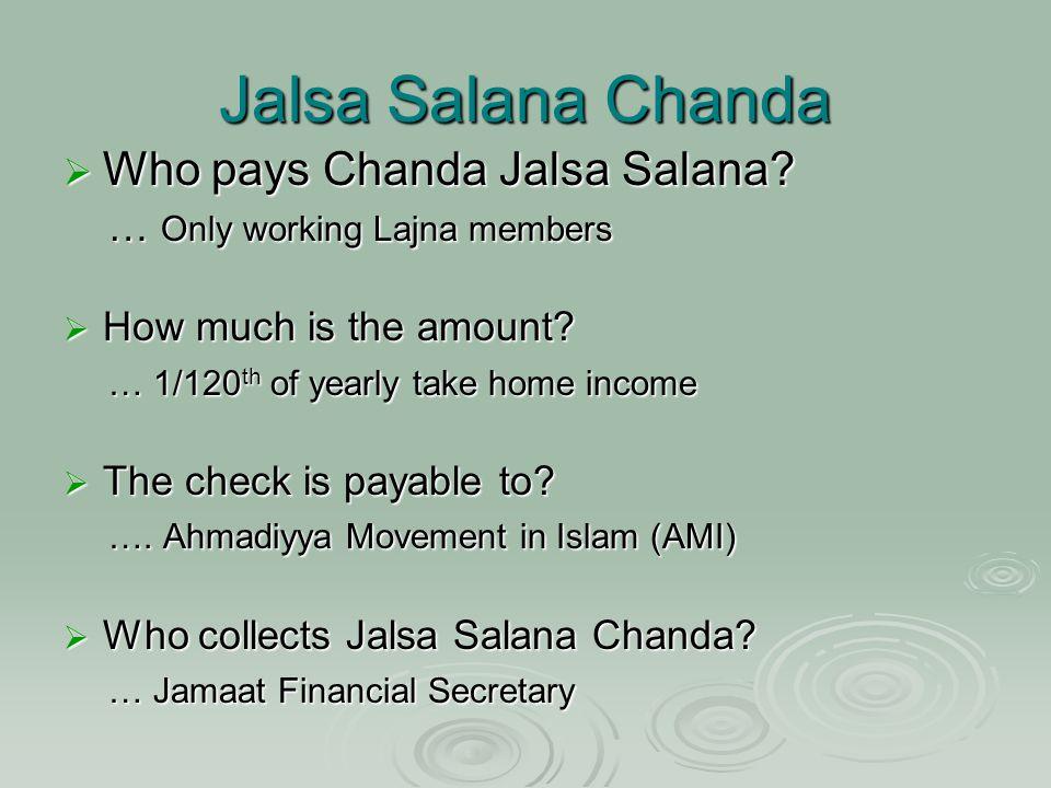 Jalsa Salana Chanda  Who pays Chanda Jalsa Salana.