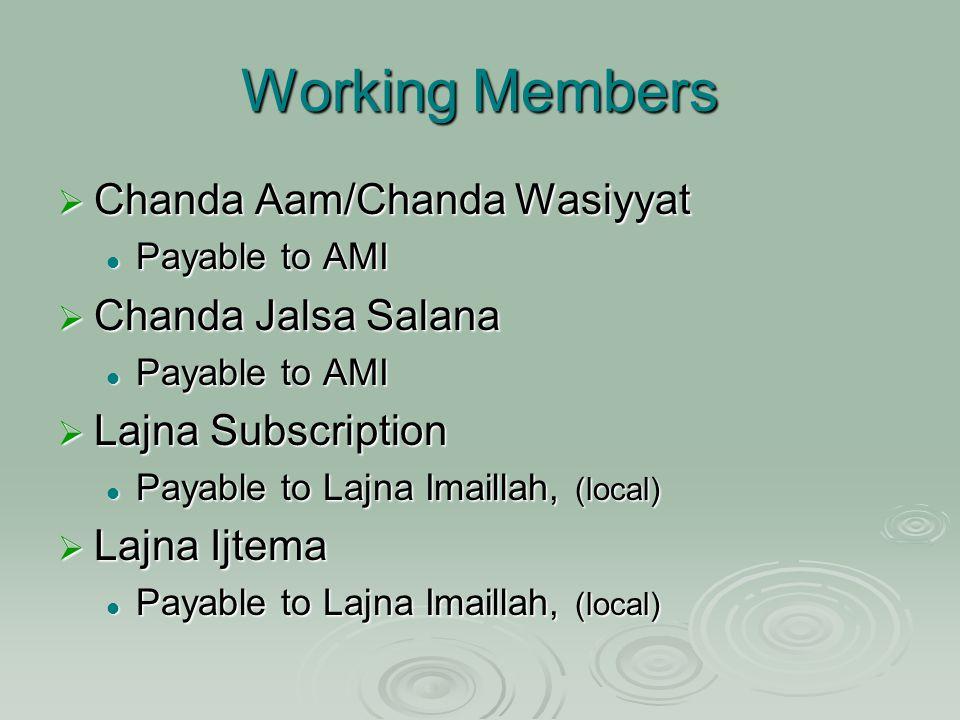 Working Members  Chanda Aam/Chanda Wasiyyat Payable to AMI Payable to AMI  Chanda Jalsa Salana Payable to AMI Payable to AMI  Lajna Subscription Payable to Lajna Imaillah, (local) Payable to Lajna Imaillah, (local)  Lajna Ijtema Payable to Lajna Imaillah, (local) Payable to Lajna Imaillah, (local)