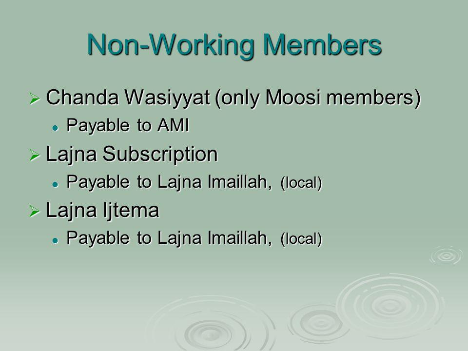 Non-Working Members  Chanda Wasiyyat (only Moosi members) Payable to AMI Payable to AMI  Lajna Subscription Payable to Lajna Imaillah, (local) Payable to Lajna Imaillah, (local)  Lajna Ijtema Payable to Lajna Imaillah, (local) Payable to Lajna Imaillah, (local)