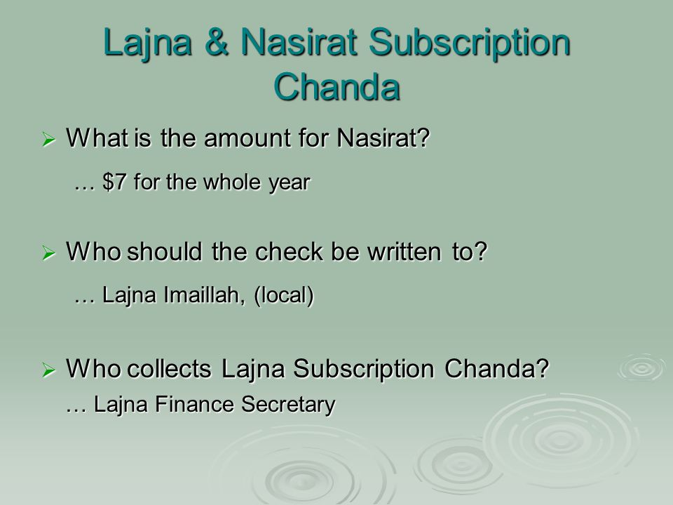 Lajna & Nasirat Subscription Chanda  What is the amount for Nasirat.