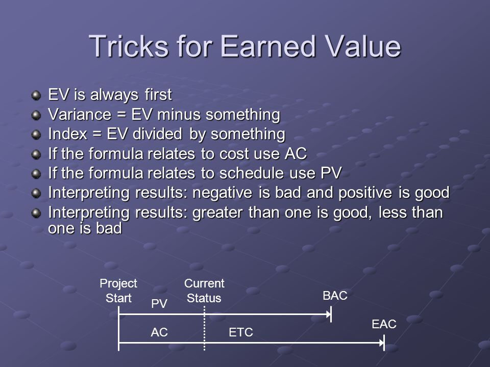 Tricks for Earned Value EV is always first Variance = EV minus something Index = EV divided by something If the formula relates to cost use AC If the
