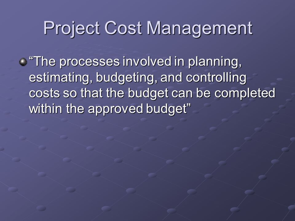 Why Do We Manage Cost.