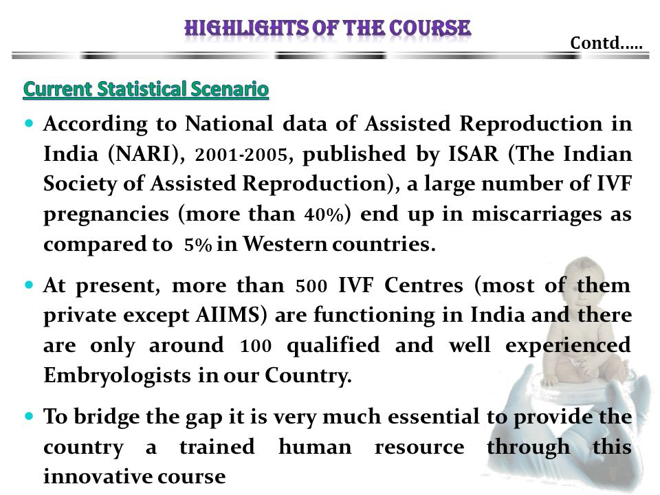 Contd.…. According to National data of Assisted Reproduction in India (NARI), 2001-2005, published by ISAR (The Indian Society of Assisted Reproductio