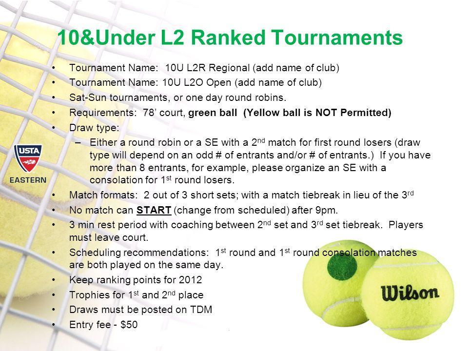 10&Under L2 Ranked Tournaments Tournament Name: 10U L2R Regional (add name of club) Tournament Name: 10U L2O Open (add name of club) Sat-Sun tournaments, or one day round robins.