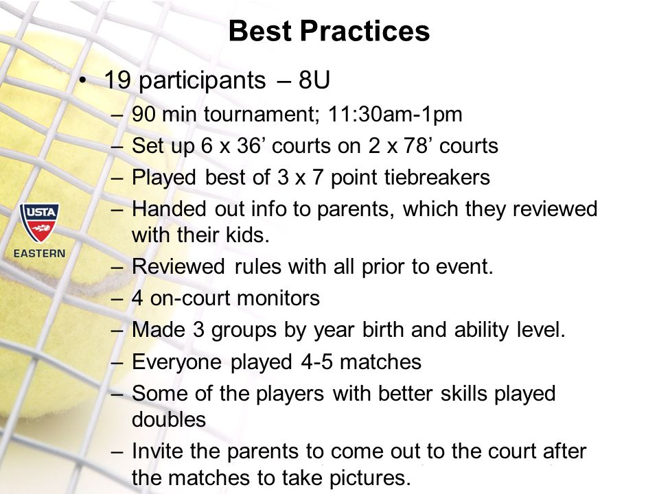 Best Practices 19 participants – 8U –90 min tournament; 11:30am-1pm –Set up 6 x 36' courts on 2 x 78' courts –Played best of 3 x 7 point tiebreakers –Handed out info to parents, which they reviewed with their kids.