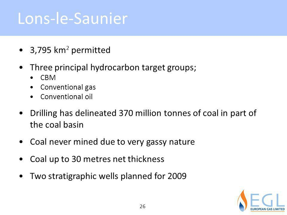 Lons-le-Saunier 3,795 km 2 permitted Three principal hydrocarbon target groups; CBM Conventional gas Conventional oil Drilling has delineated 370 mill