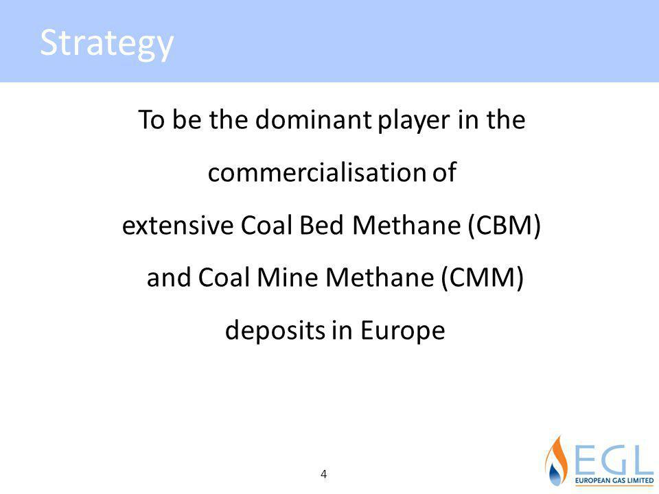 Strategy To be the dominant player in the commercialisation of extensive Coal Bed Methane (CBM) and Coal Mine Methane (CMM) deposits in Europe 4