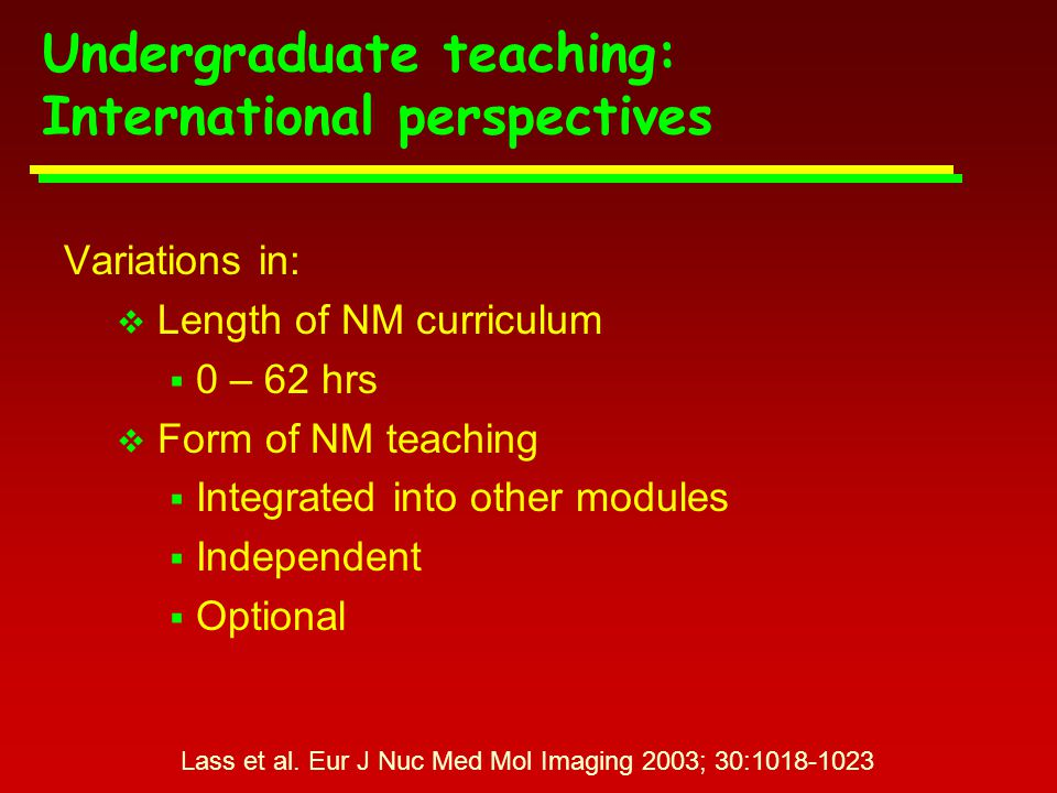 Problems of undergraduate curriculum  Overcrowded / overloaded  Serious problem with information overload Ell (editorial).
