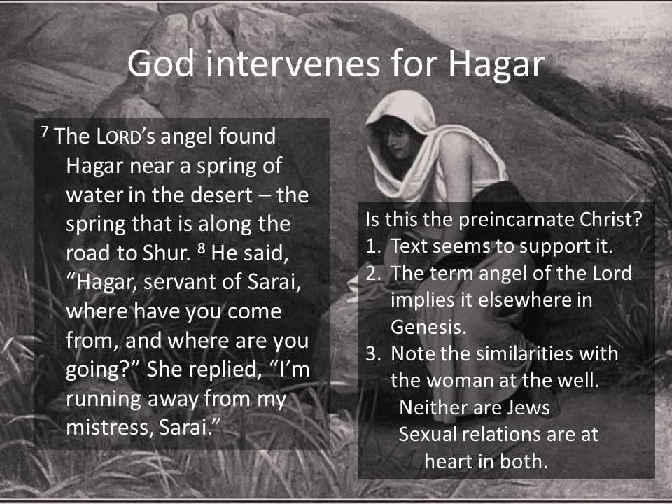 God intervenes for Hagar 7 The L ORD 's angel found Hagar near a spring of water in the desert – the spring that is along the road to Shur. 8 He said,